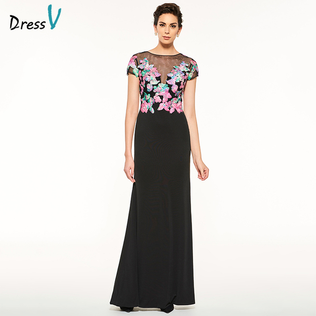 Dressv Black Long Mother Of The Bride Dress Scoop Neck Sheath Short Sleeves Appliques Button Custom Mother Of The Bride Dress