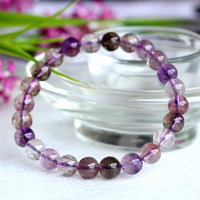 Wholesale Natural Genuine Multi Colors Mix Clear Purple Super Seven 7 Finish Stretch Bracelet Round Beads Melody Stone 7 04061