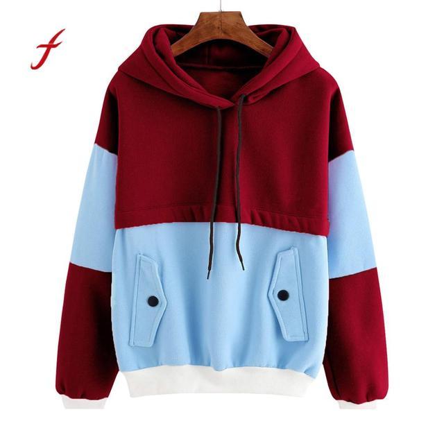a19514ee Cotton Women Sweatshirt Color Block Hoodie Patchwork Pocket Hooded Long  Sleeve Sweatshirts Tops Female Blouse Casual Wine