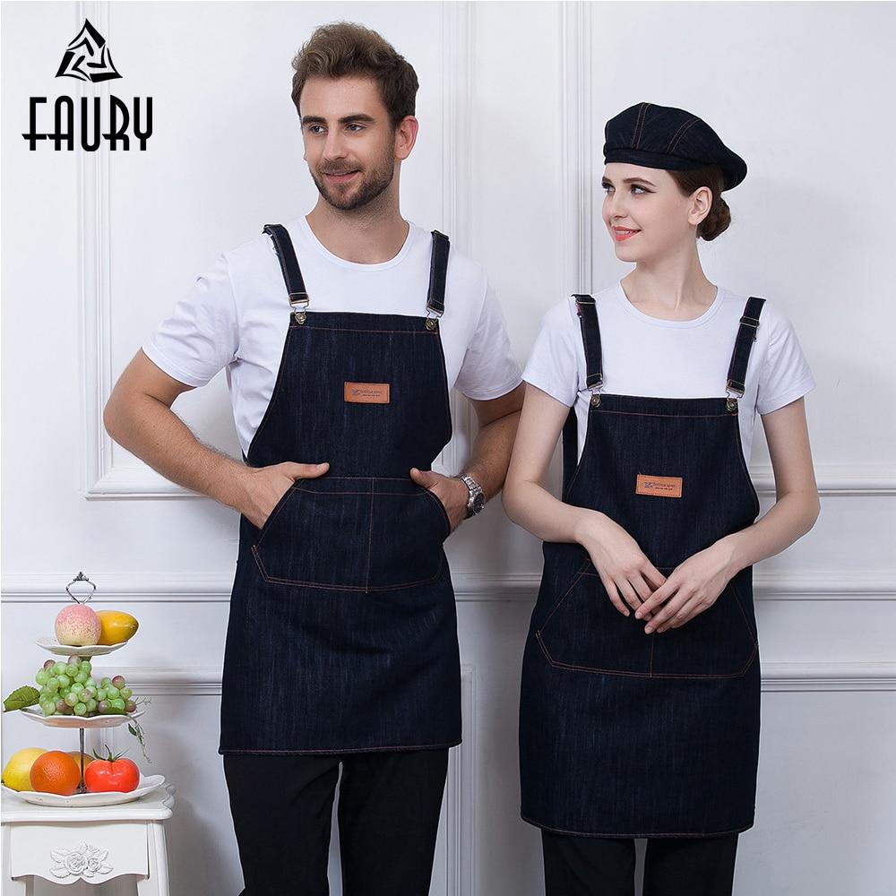 Wholesale Unisex Adjustable Strap Denim Chef Apron Food Service Restaurant BBQ Cafe Shop Bakery Waiter Cleaning Work Uniform