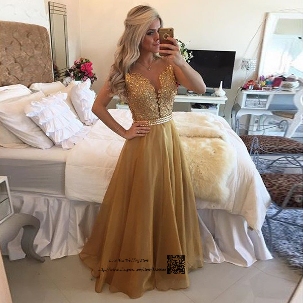 Responsible Gold Lace Long Evening Gowns Crystals Organza Backless Special Occasion Prom Dresses 2017 Floor Length Vestidos De Festa Baile