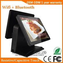 Haina touch 15 인치 터치 스크린 일체형 pos 시스템 슈퍼마켓, pos 시스템 듀얼 스크린