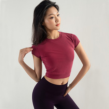 New Spring and Summer Ladies Yoga Clothes Fitness Running Sports Quick-drying Shirt Dew Navel Short-sleeved T-shirt недорого