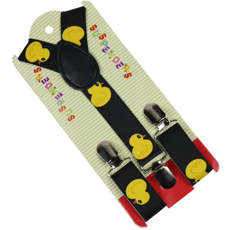 Winfox Fashion Animal Black Yellow Duck Children Suspenders Shirts Kids Suspenders Baby Boys Belt Strap Braces