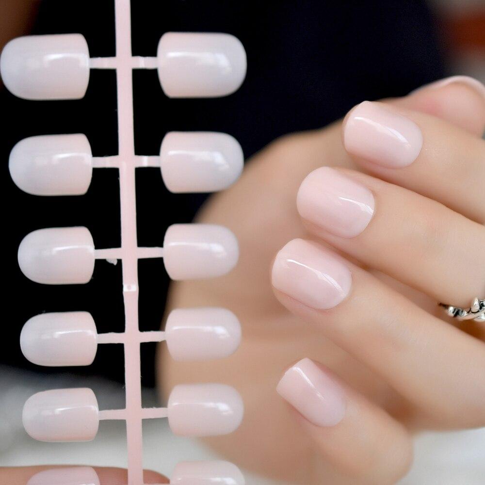 Super Nude Clear Fake Nails Short Square Natural Nail Art Kit DIY Manicure Tips False Tips 24 count on nail tree Наращивание ногтей