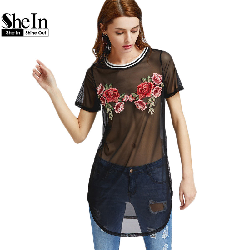 Shein atractivo del club dress 2017 mesh dress mujeres de manga corta negro bord