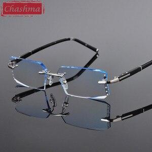 Image 2 - Chashma luxo matiz lentes miopia e óculos de leitura diamante corte sem aro óculos de prescrição para o homem