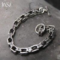 7mm 925 Sterling Silver Bracelet Men Mantra Letter 19CM 100% S925 Solid Thai Silver Link Chain Bracelets for Women Jewelry