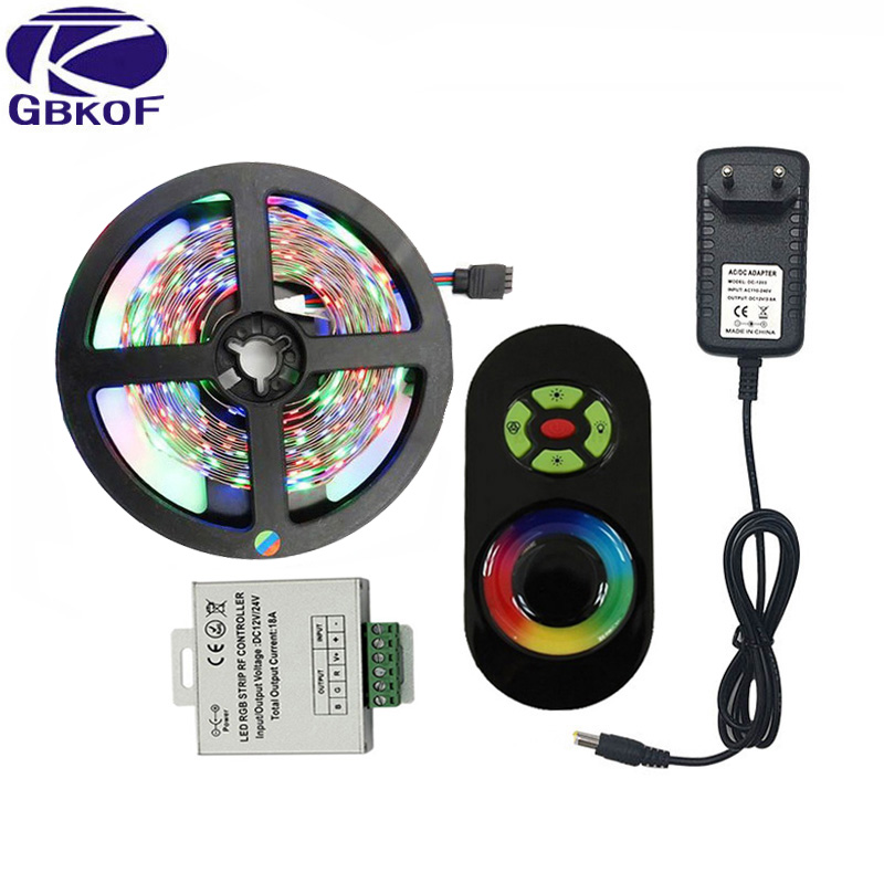 5M 10M 15M 20M 2835 RGB LED Strip Lights no waterproof SMD Flexible RGB Ribbon Tape One Set+Touch Controller+DC 12V Power Supply riri won smd5050 rgb led strip waterproof led light dc 12v tape flexible strip 5m 10m 15m 20m touch rgb controller adapter