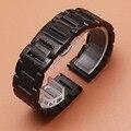 Qualidade 20mm 22mm polished black butterfly implantação fecho pulseiras de relógio de aço inoxidável pulseira para samsung gear s2 s3 pulseira