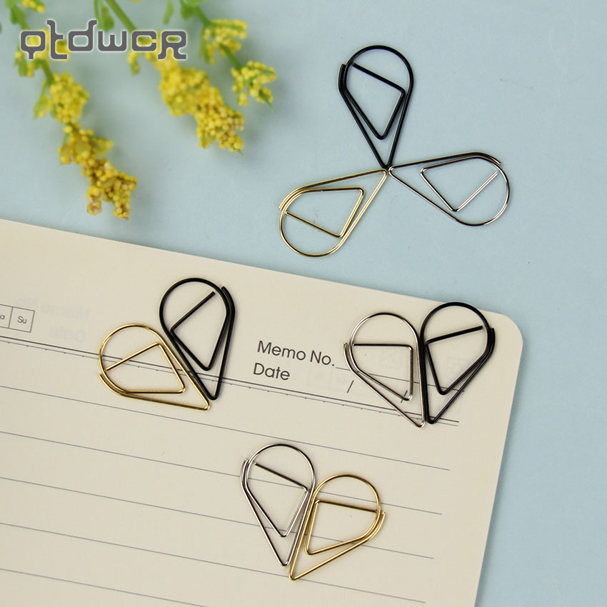 10PCS/Lot 2.5X1.5cm Modeling Paper Clips Metal Material Water Drop Shape Golden Silver Black Bookmark Memo Clips