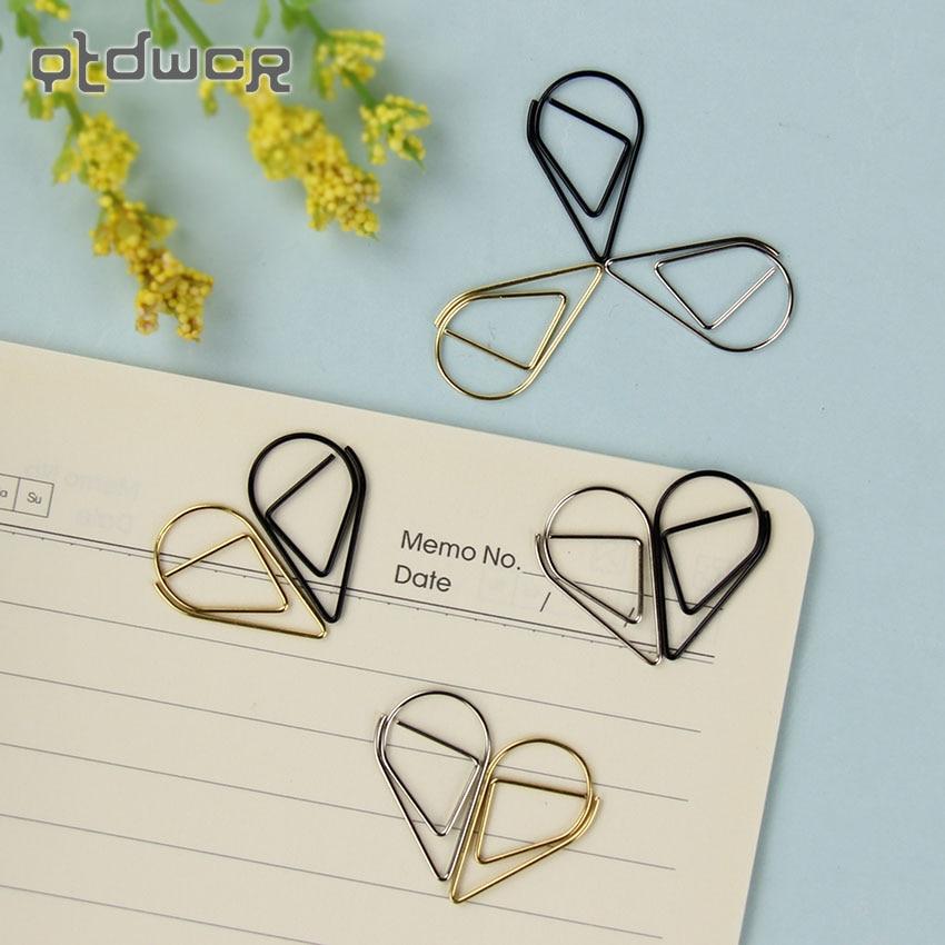10PCS/Lot 2.5X1.5cm Modeling Paper Clips Metal Material Water Drop Shape Golden Silver Black Bookmark Memo Clips