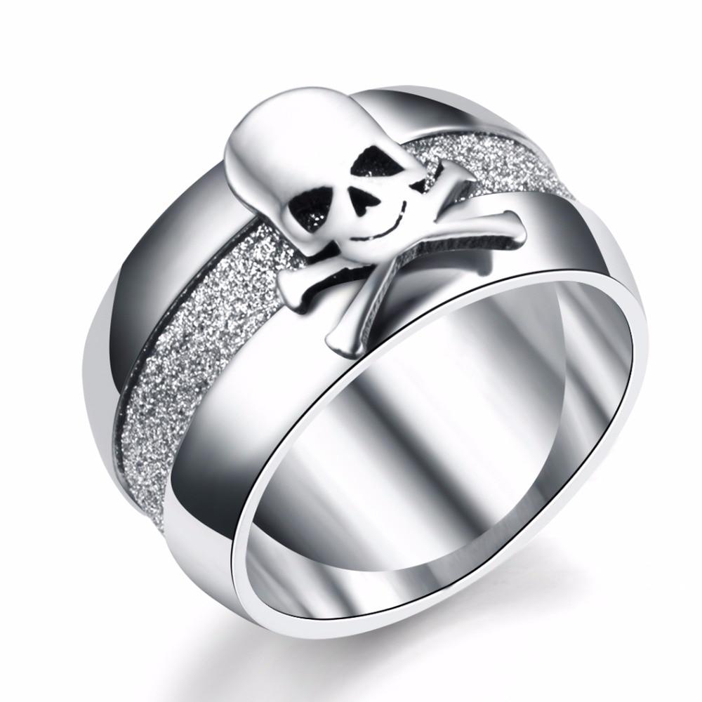 Nooit Vervagen 10mm Titanium Punk Piraat Schedel Ring Vintage Saaie Poolse Ringen Mannen Vrouwen 316L Rvs Charms JR2197