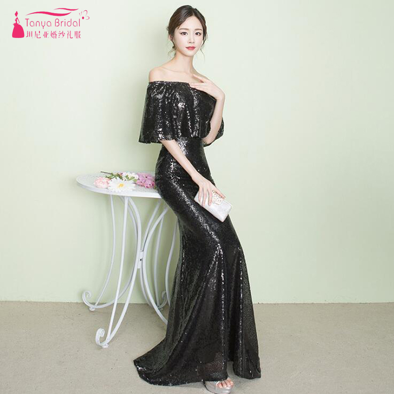 Boat Neck   Bridesmaid     Dresses   Black Sequined Long Wedding Guest   Dress   Zipper Back Vestido de Festa ZB040