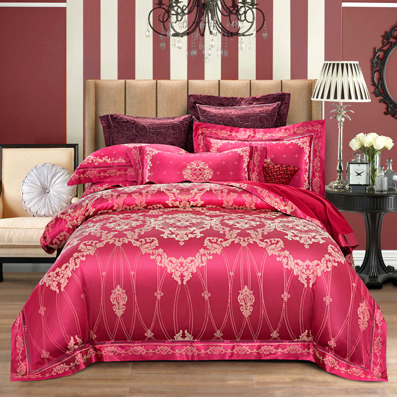 2019 New Luxury Red Silk Satin Bedding Set King Queen size Cotton Bed sheet Fitted sheet