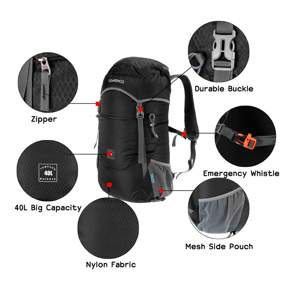 TOMSHOO Outdoor Backpack 40L Ultra Lightweight Water resistant Nylon  Outdoor Backpack Travel Trekking Foldable Bag-in Climbing Bags from Sports  ... 4e95c9f089