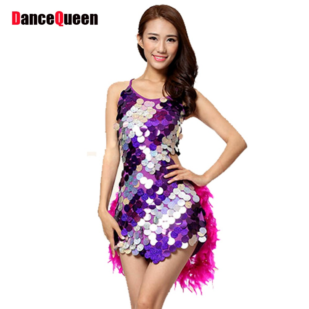 2018 New Dance Costumes Feathers 5color Sexy Ballroom Dresses Free Size Red Tango Dress Sequin Leotard Free Shipping