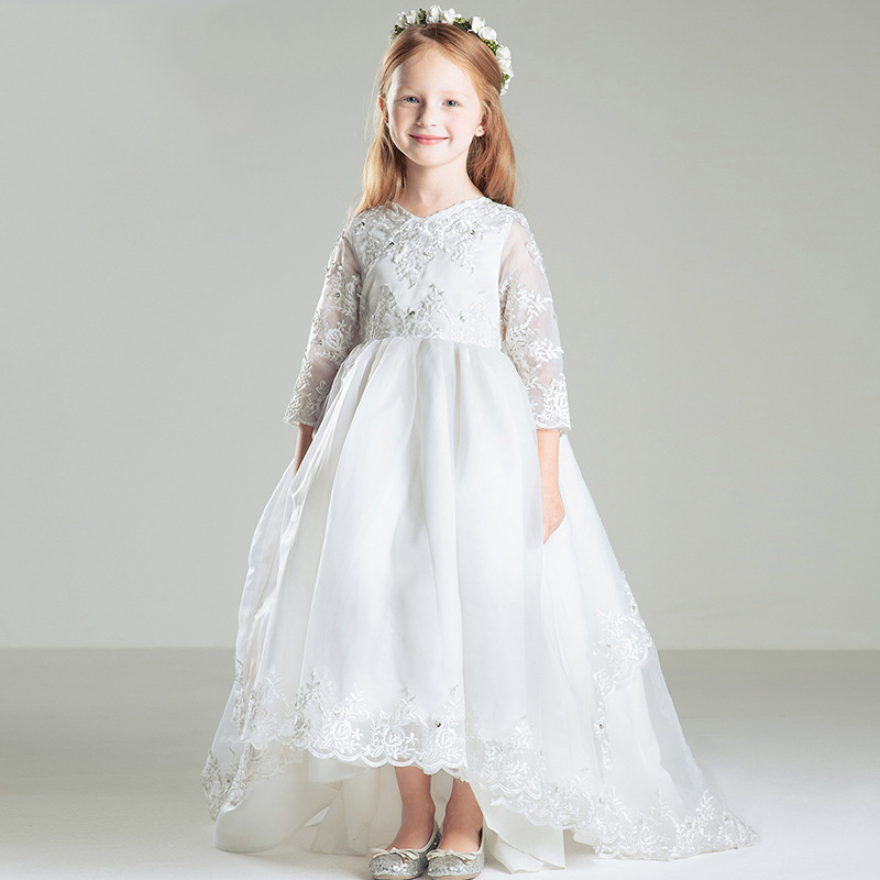 Girl Flower Dress for Wedding Long Sleeve Princess Dress Lace Embroidered Kids Wedding Dress sunflower long sleeve surplice dress