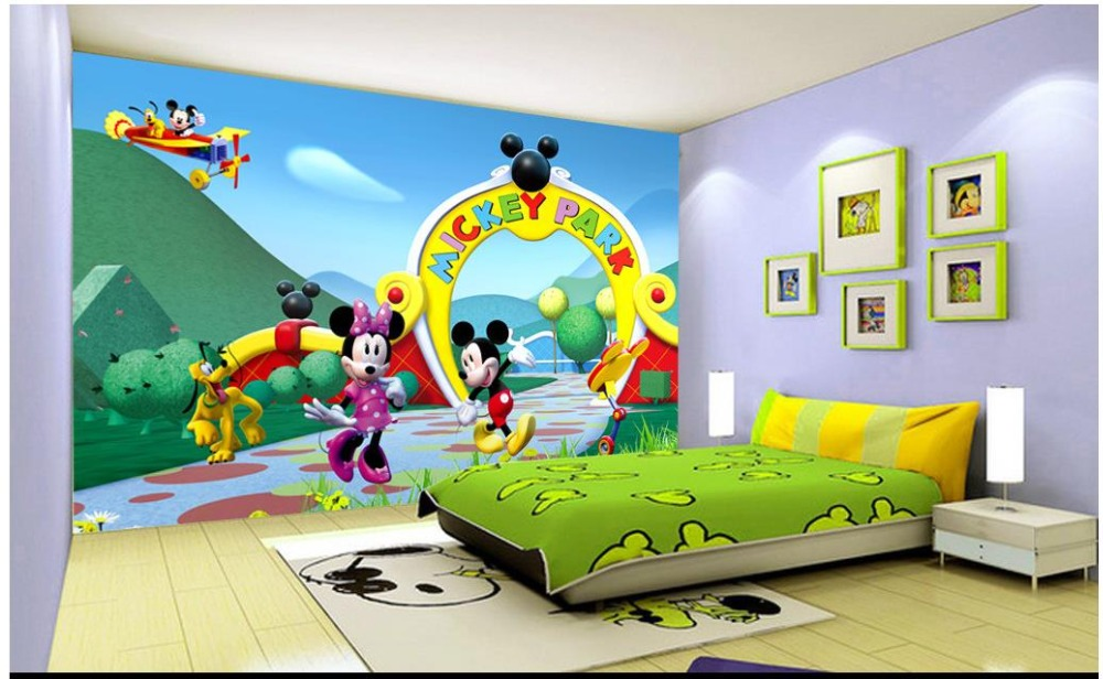 Custom 3d Photo Wallpaper For Walls 3 D Wall Murals 3d Cartoon Mickey Mouse  Children Room
