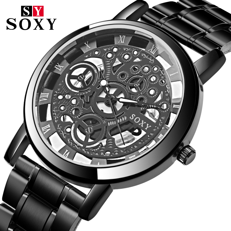 2018 New Top Brand SOXY Wrist Watch Unique Style Men Quartz Watches Fashion Hollow Designer Gentle Clock relogio masculino