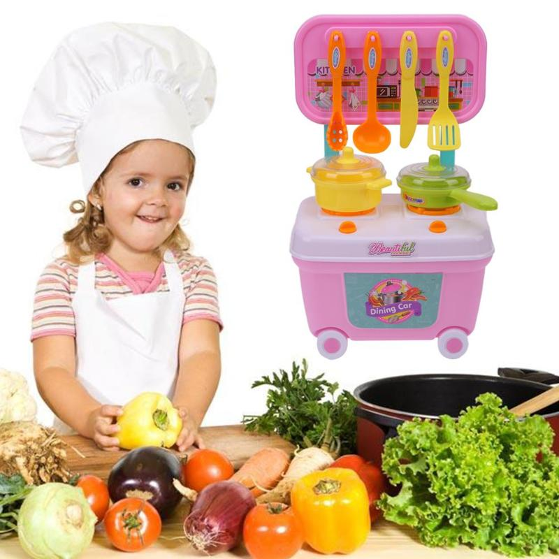 8123524798ff Plastic Kitchen Spoon Bowl Pan Toy Set Kids Pretend Play Educational Cooking  Tableware Toy Gifts Features  Cute car shape
