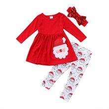 dd17adab8 2018 niños niño niñas Navidad ropa 3 piezas Santa Vestido de manga larga  Tops imprimir pantalones Leggings traje otoño venta 2-6.