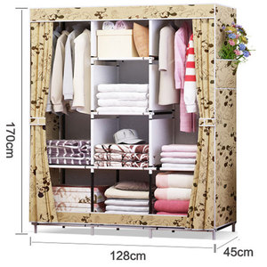 Image 5 - Waterproof Oxford Cloth Multi purpose Clothing Storage Cabinet Wardrobe DIY Assembly Reinforced Folding Storage Closet Furniture