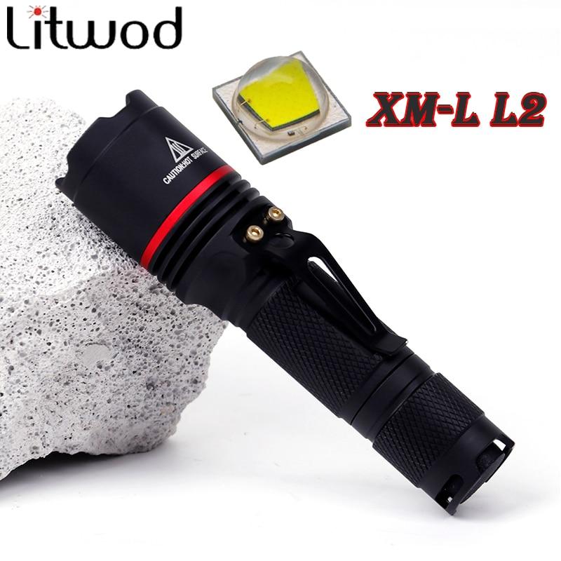 Litwod z30911 LED Flashlight Aluminum XM-L L2 5000LM Torch Lantern Waterproof 3 Modes Lantern Portable Light use AA or 14500 skilhunt ds15 cree xm l2 led edc waterproof flashlight torch 5 modes 240lm 1 x 14500 or aa battery