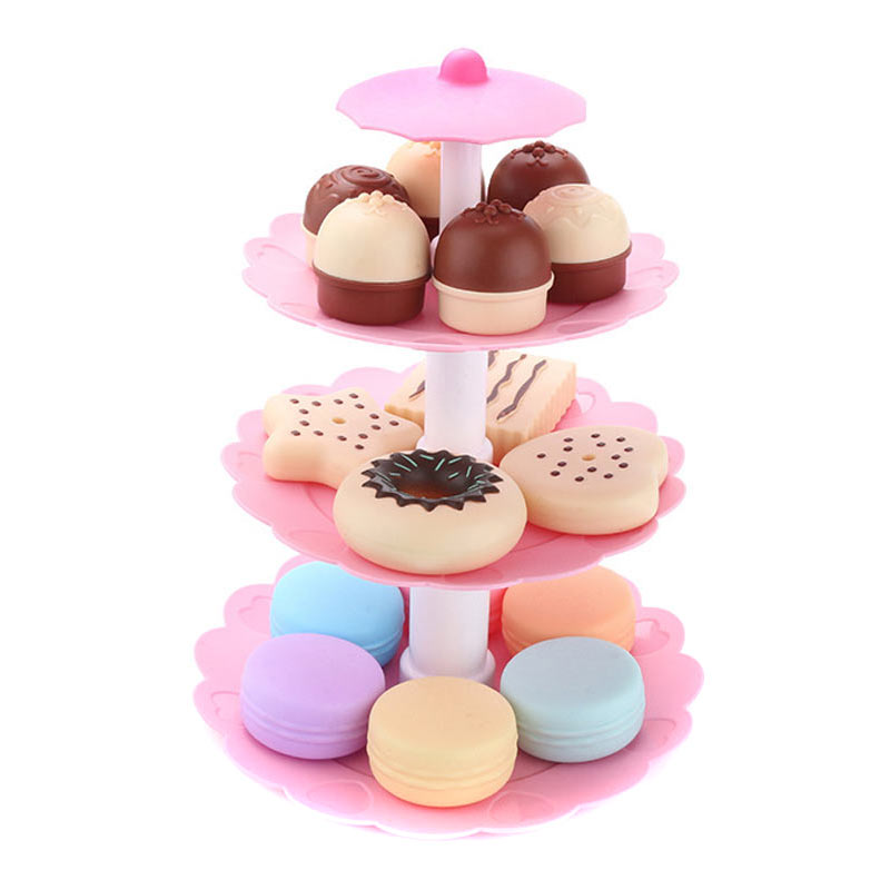 17pcs/Set Cake Tower Mini Cookie Food Set Plastic Kitchen Toys Kids Pretend Play Birthday Gift 775 S7JN
