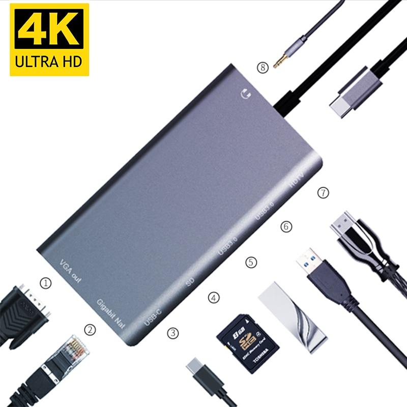 USBC vers Rj45 Lan 4 K HDMI VGA 2USB 3.0 lecteur de fente de carte SD 8 en 1 Type C adaptateur de Dock Hub pour Macbook pour Samsung Huawei Dex Mode