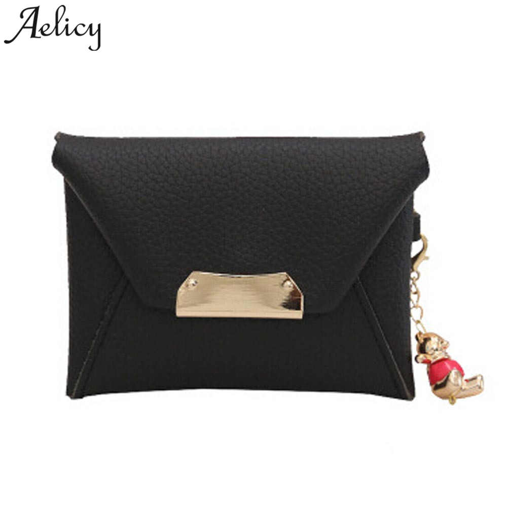 Aelicy Luxury Women Card Holder Leather Cute Id Card Pocket Clutch Purse for Coins Small Wallet Candy Color Coin Pocket Ladies