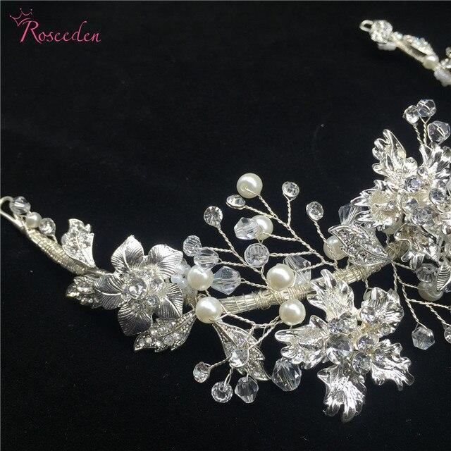 Ślubne dodatki do włosów wykwintne kwiatowe opaska z listkami perły kryształowe tiara i korona handmade ozdoba ślubna do włosów biżuteria RE750