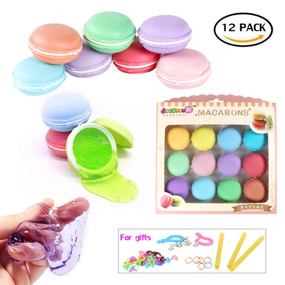 Macaroon Slime Kit, 12 Pack Fluffy Slime Stress Relief Jucărie Jelly - Învățare și educație