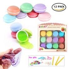 Macaroon Slime Kit, 12 Pack Flauschigen Schleim Stress Relief Spielzeug Jelly Toy Kristall Schlamm Ton Soft Squeeze Squishy Pudding Spielzeug für Kinder