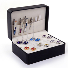 Free shipping brand new big Cufflinks Gift Box 6 pairs holder cufflinks tie clip set package 146mm*106mm*60mm