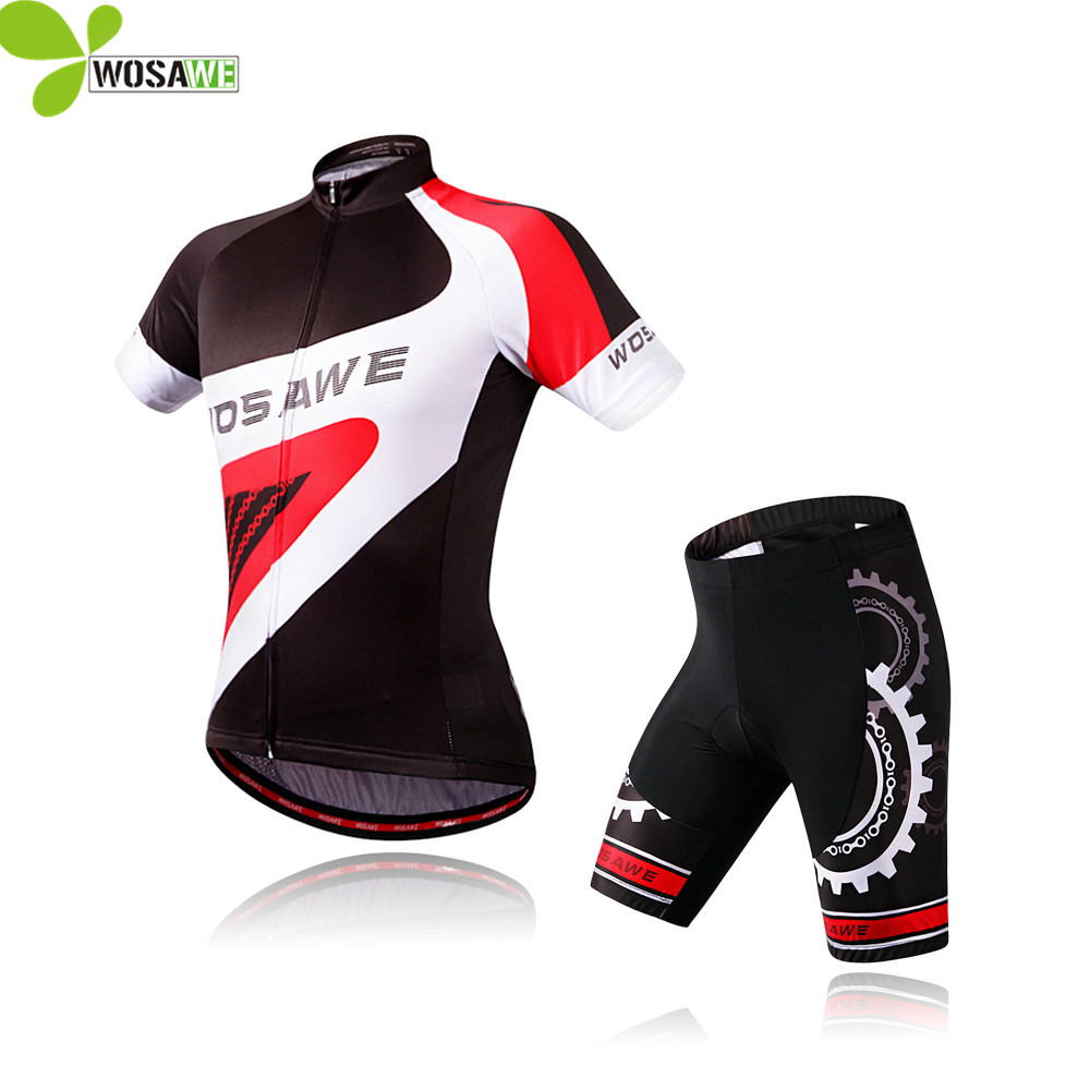 WOSAWE Men Summer Cycling Jersey Set Short Sleeve Shirt Gel Pad Ropa Ciclismo Mtb Cycle Sport Suits Racing Team Cycling Clothing