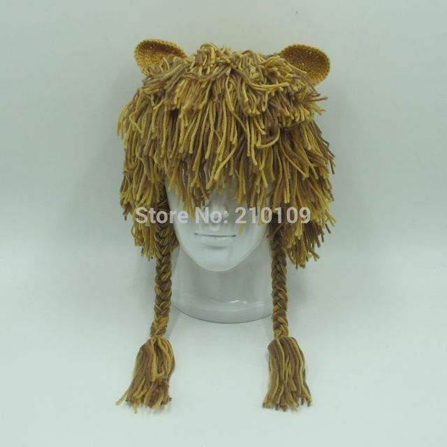 Adult Handmade Warm Durable Crazy Lion Wig Fun Winter Hats Unique Gift Ideas Caps Men Women Party Halloween Christmas Beanies