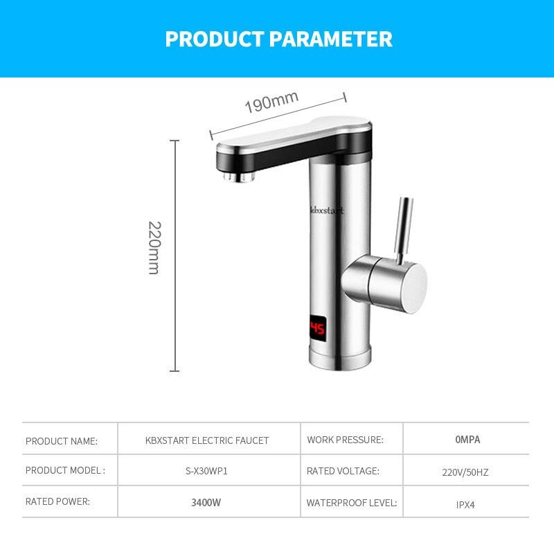 Купить с кэшбэком Kbxstart Tankless Water Heater 220V Stainless Steel Kitchen Banheiro Electric Tap Bathroom Water Faucet Fast Heating Torneira