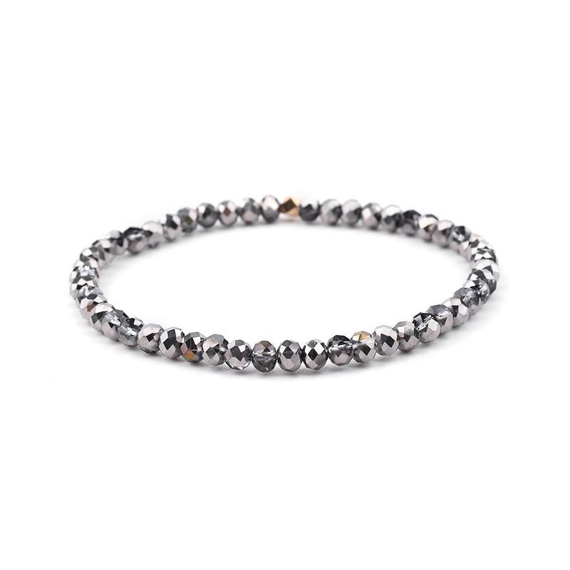 BOJIU многоцветные Кристальные браслеты для женщин золотые акриловые медные бусины розовый белый черный серый женский браслет с кристаллами BC226 - Окраска металла: 3-Metal Gray