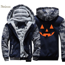 Jack O Lantern Pumpkin Halloween Hoodie Men Swag Sweatshirt Coat Winter Thick Fleece Warm Camouflage Jacket Funny Sportswear