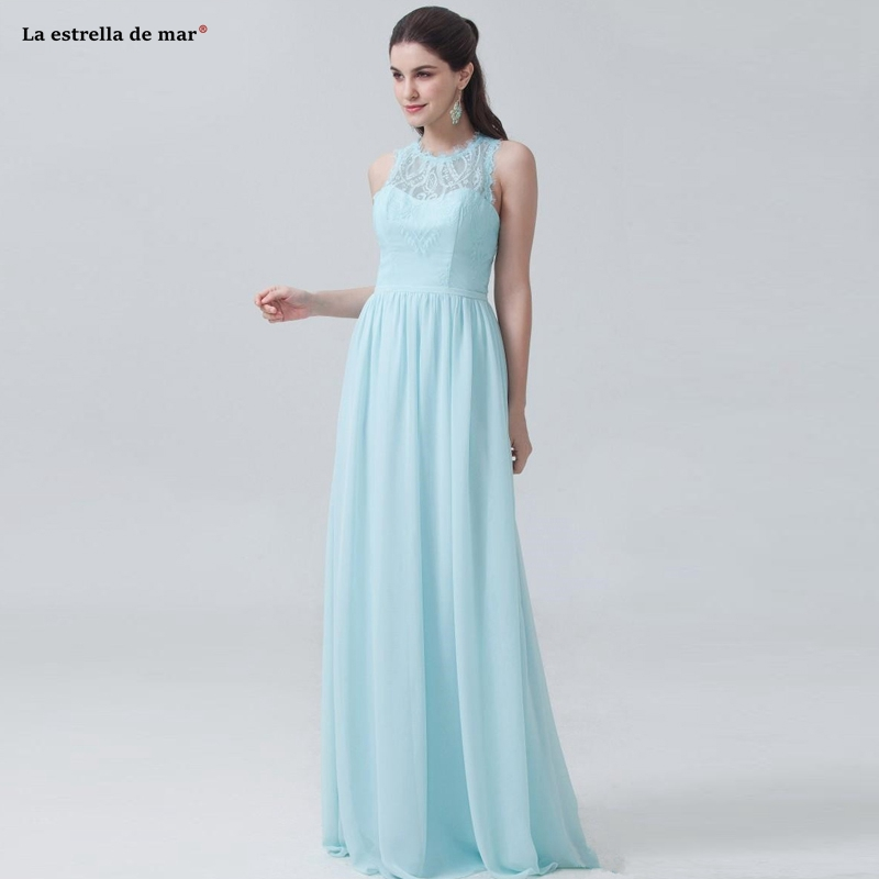 Vestido madrinha2019 new Scoop neck chiffon lace back A line light blue   bridesmaid     dress   long wedding guest   dress