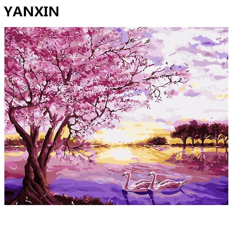 YANXIN DIY Rahmen Malerei Durch Zahlen Öl Farbe Wand Kunst Bilder ...