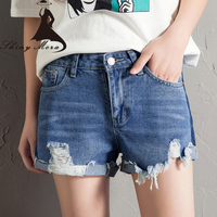 SHINYMORA Denim Shorts For Women Summer Casual Shorts Jeans Mid Waist Hole Fashion Shorts Female Sexy