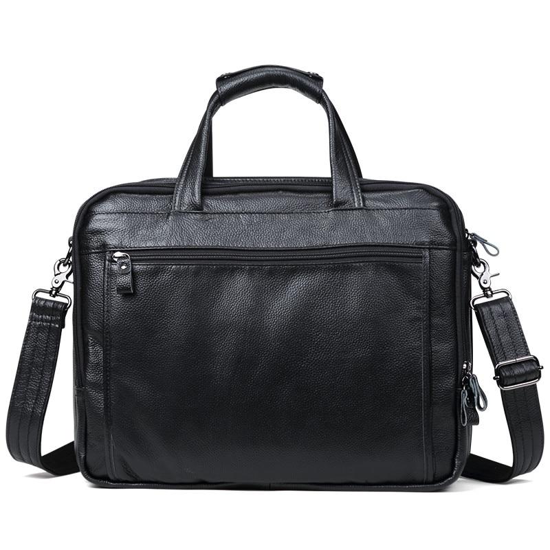 "100% Natural Cow Leather Men Handbag Big Volume 15"" Inch Laptop Bag Genuine Leather Shoulder Bags 3 Layers Business Briefcase"