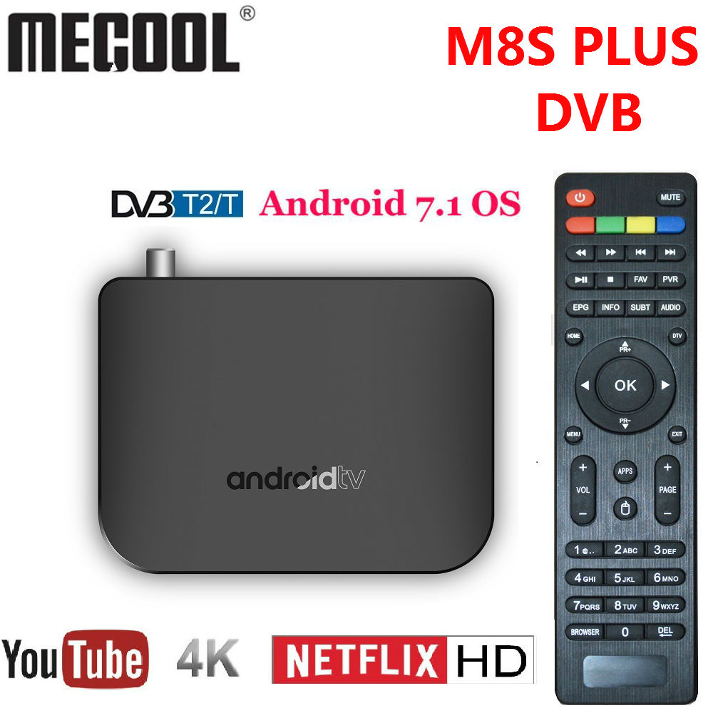 цена Mecool M8S PLUS DVB TV Box Android 7.1 DVB-T2 Terrestrial Combo Smart TV BOX 4K Amlogic S905D Quad Core 64-bit 1GB 8GB 1080p