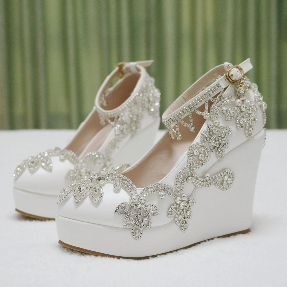 Scarpe Sposa The Woman In White.Luxury Crystal Wedges Pumps Heels Wedding Shoes For Women White