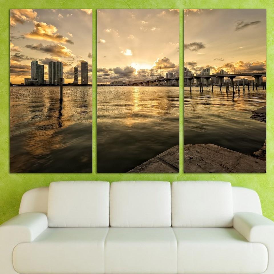 Direct Selling 3 Panels Canvas Art Cityscape Bridge Water