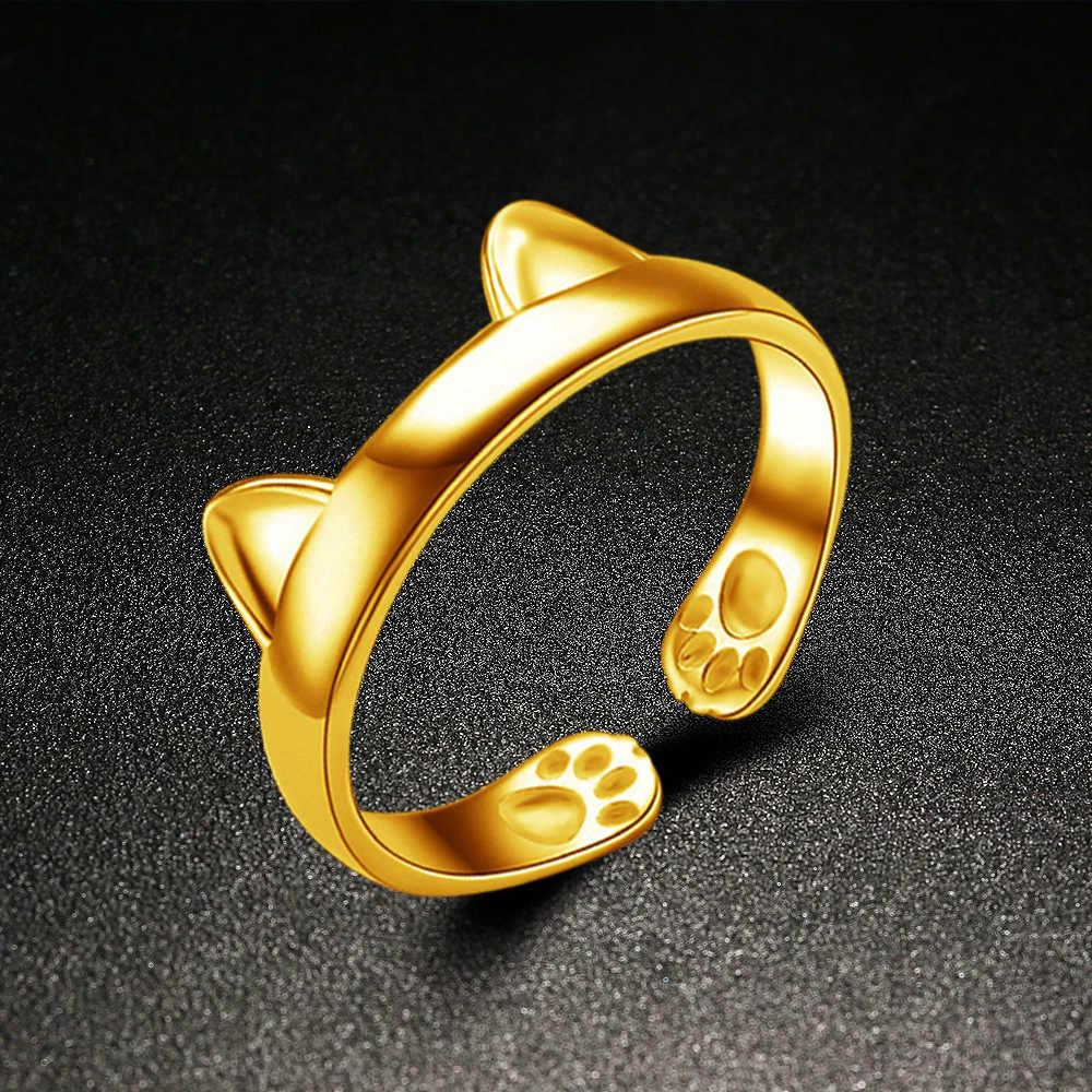כסף זהב צבע חתול אוזן טבעת עיצוב חמוד 925 חותמת תכשיטים חתול נשים טבעת ילדה מתנות מתכוונן קסמי אנל GSZR0064