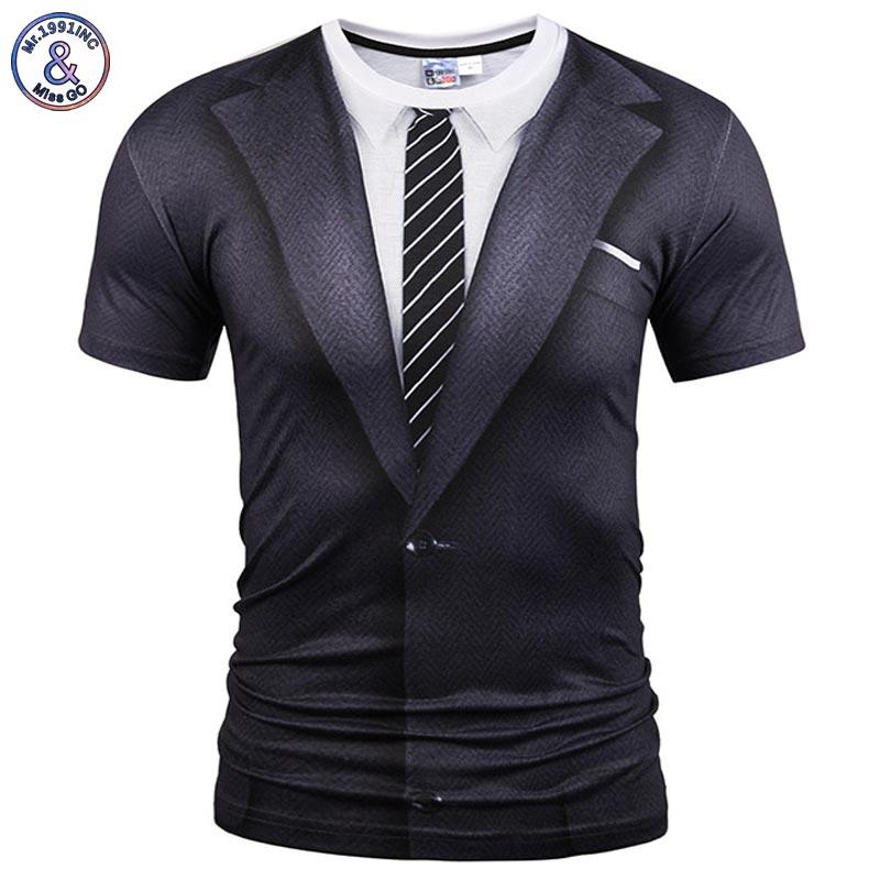Mr.1991INC Gefälschte Zwei Stücke Stil T-shirt Männer/Frauen Tees Sommer Tops Drucken Anzug Tops Fashion Brand T shirts