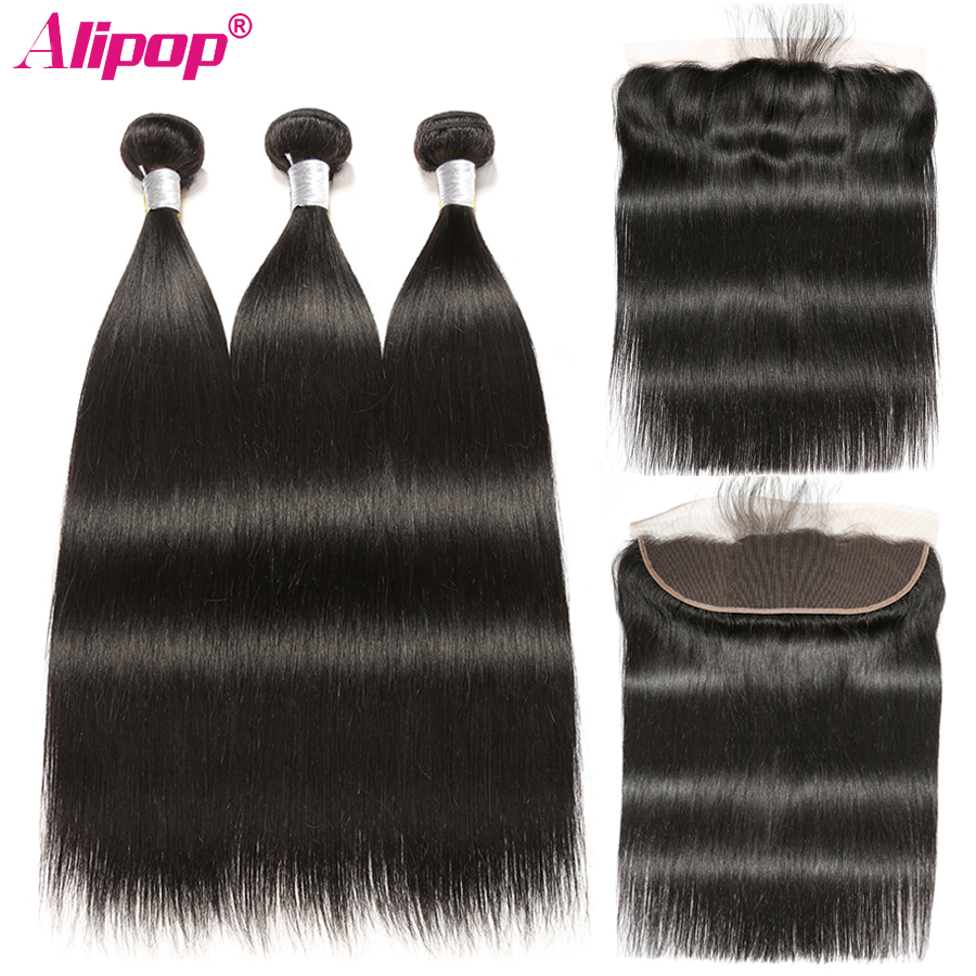 Malaysian Straight Hair Bundles With Frontal Closure Remy Human Hair 3 Bundles With 13x4 Ear to